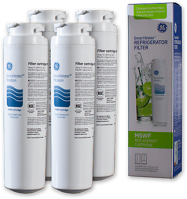 4 Pack GE MSWF Refrigerator SmartWater Water Filter Cartridge Replacement