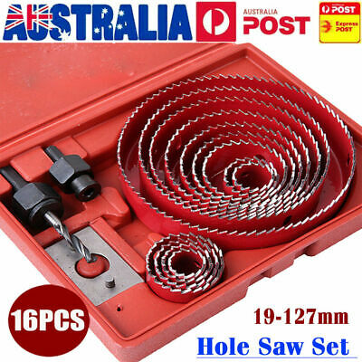 16 Hole Saw Drill Bit Kit Set Holesaw Wood Sheet Metal Timber Woodworking Tool