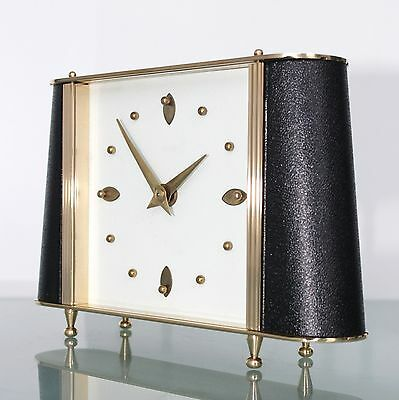 Vintage SMITHS Mantel Clock TOP Condition! LEATHER FEATURES 1950s UK Mid Century