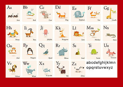 Education Alphabet Animals Kids Learning AAKL02 A4 A3 POSTER BUY 2 GET 1 FREE