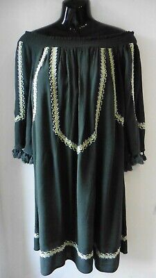 Red Herring Khaki Gypsy Dress 12 Off The Shoulder 3 / 4 Sleeve Worn Once R12
