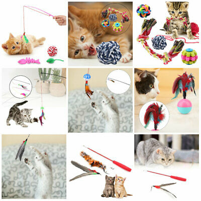 Cat Toy Plush Stretch Kitten Pet Dog Teaser Fun Play Wand Interactive Wire HOT