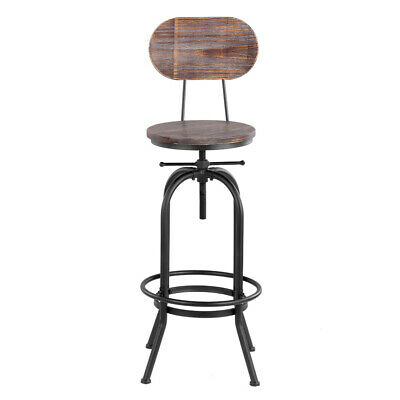 Vintage Bar Stool Industrial Metal Wood Top Adjustable Swivel W/ Backrest K4M9