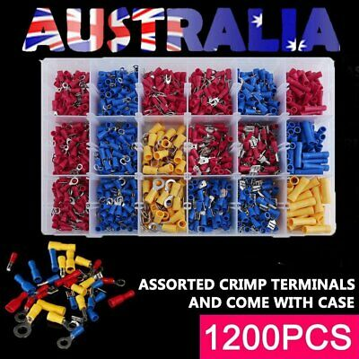 Assorted 1200PCS Insulated Crimp Terminals Electrical Wire Connector Spade Set