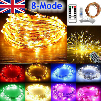 8 modes USB Plug In 200 LED DIY Micro Copper Wire String Lights Party Fairy Ligh