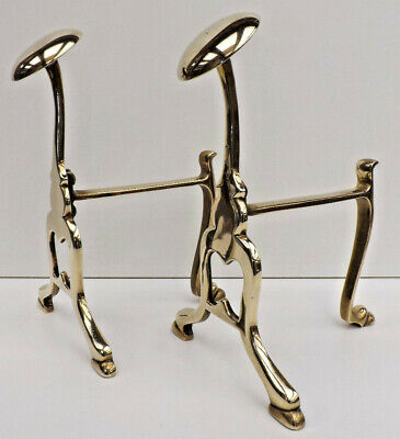 Victorian Pair Of Brass Fire Dogs with Disk Top Shoe Warmers