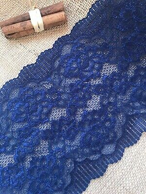 "Mid Navy Blue Soft Stretch Lace Wide 7""/18 cm Lingerie Craft Sew Table Runner"