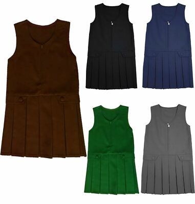 Girls Front Zip 2 Button Box Pleated Pinafore School Wear Uniform Plain Dress