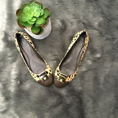 afaee66dd Tory Burch Brown Pony Hair Leopard Flats Sz 7M Shoes Womens Gold Leather  Womens
