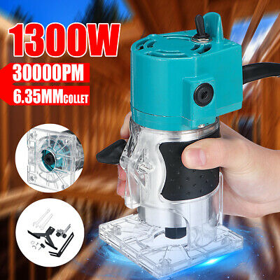 """MECO 1/4""""1300W Electric Hand Trimmer Wood Laminator Router Joiners Tool 30000RPM"""