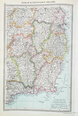 Map of South East Ireland. 1905. DUBLIN. WICKLOW. WATERFORD. EIRE
