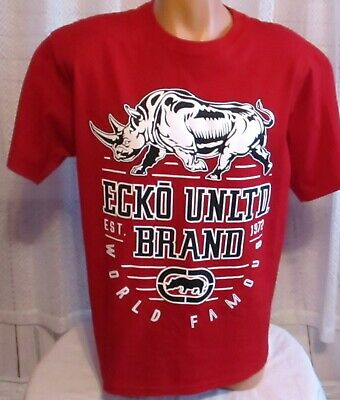 ECKO UNLIMITED RHINO Large Polo Shirt Collar Crown White Black Red