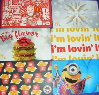Mc DONALD'S COLLECTIBLE GIFT CARD LOT of 6 Different Cards No Value MINIONS