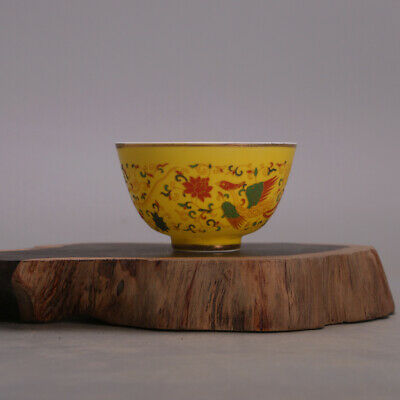 "3"" Ming chenghua mark China antique Porcelain yellow glaze Phoenix gilt gold cup"