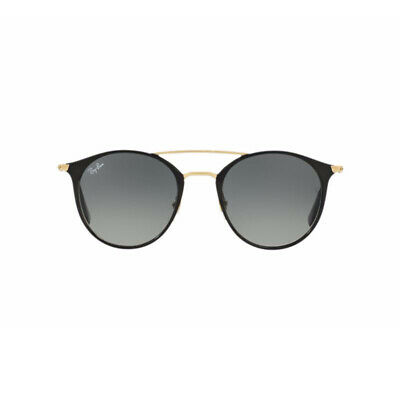 0c8c16a372 New Ray Ban Round Sunglasses RB3546 Black Gold 187 71 49mm Grey Gradient UV  Lens