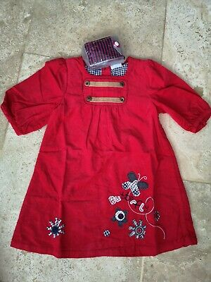 Bnwt Next Red Cordaroy Butterfly Applique With Tights Set Age 3-4