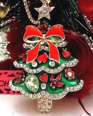 Betsey Johnson Beautiful Green Christmas Tree With Red Bow Pendant Necklace