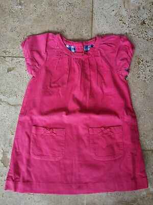 New Boden Pink Cordaroy Dress With Bow Detail Age 3-4