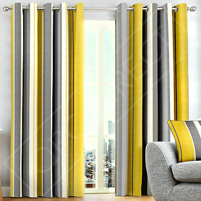 Pair Broad Striped 100% Cotton Lined Eyelet Ring Curtains, Ochre Mustard Yellow
