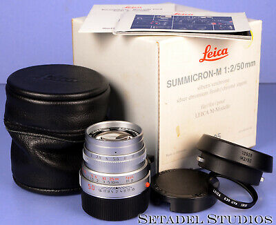 Leica Leitz 50Mm Summicron-M F2 Brass Body Silver Chrome 11825 M Lens +Caps +Box