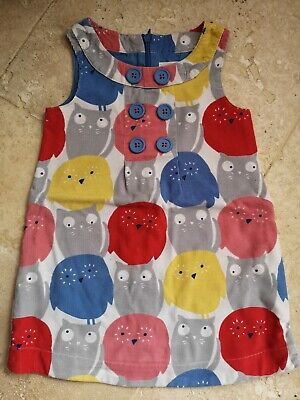 Vgc Boden Owl & Pussy Cat Cordaroy Dress Age 2-3 Years