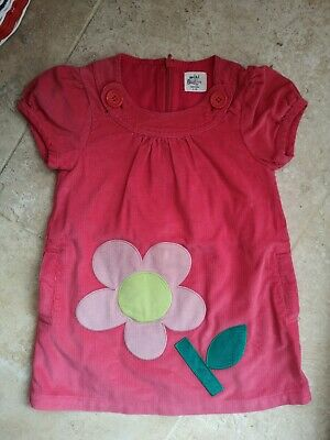 Vgc Boden Pink With Flower Applique Cordaroy Dress Age 2-3 Years