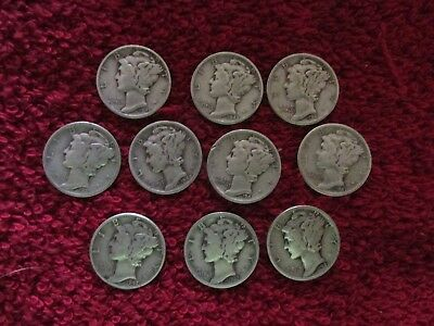 lot of 10 ALL  S  MINT SILVER  mercury dimes