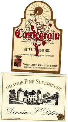 2 ORIGINAL VINTAGE FRENCH WINE LABELS 1920s GRANDE FINE SUPERIEURE & CANTEGRAIN