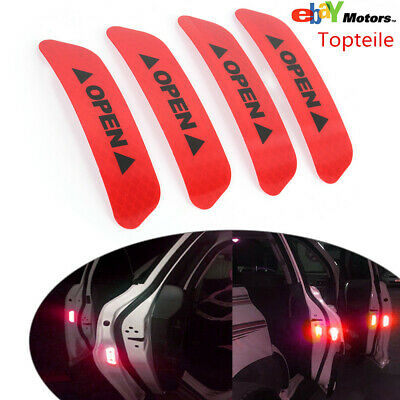 4PCS Super Red Car Door Open Sticker Reflective Tape Safety Warning Decal Fast