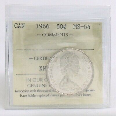 ICCS Graded Mint State 64 Canada 1966 Fifty 50 Cent Half Dollar Coin I878