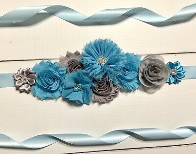 Blue Silver Gray Maternity Sash Belt Baby Shower Vintage Belt