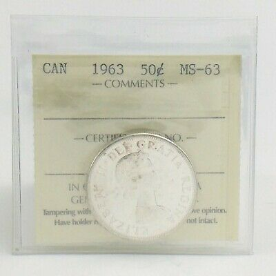 ICCS Graded Mint State 63 Canada 1963 Fifty 50 Cent Half Dollar Coin I881