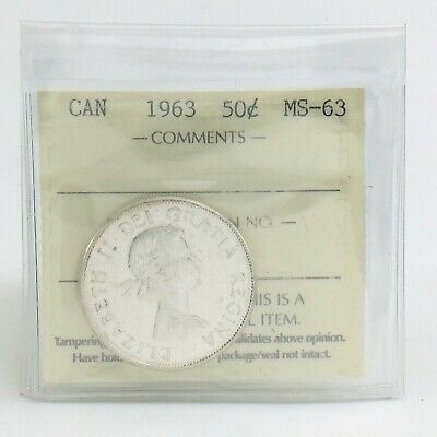 ICCS Graded Mint State 63 Canada 1963 Fifty 50 Cent Half Dollar Coin I882