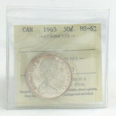 ICCS Graded Mint State 63 Canada 1965 Fifty 50 Cent Half Dollar Coin I883