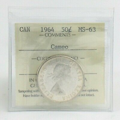 ICCS Graded Mint State 63 Canada 1964 Fifty 50 Cent Cameo Half Dollar Coin I884