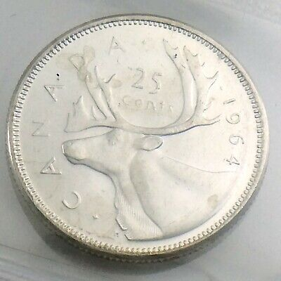 ICCS Graded Mint State 62 Canada 1964 Twenty Five 25 Cent Quarter Coin I886