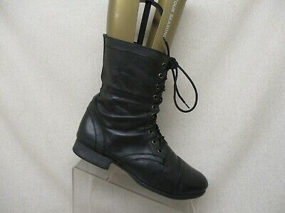1478aed3b73 Steve Madden Troopa Black Leather Zip Lace Up Combat Boots Womens Size 10 M