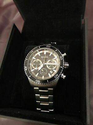 Bulova Mens 45mm Stainless Steel High Frequency Quartz Chronograph Watch, luxury