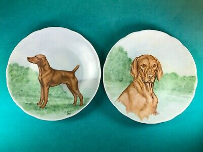 Vintage Vizsla Dog Pair Of Handpainted Plates By Artist E. Oakes, Dated 1980