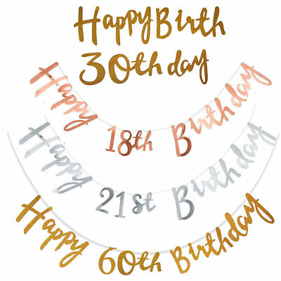 Happy Birthday Bunting Banner 18th 21st 30th 40th 50th 60th Party Decor DIY Gift