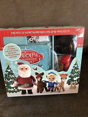 Rudolph The Red-Nosed Reindeer & Santa Complete Crochet Kit NEW
