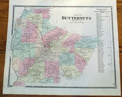 1868 NY Butternuts Town Otsego County Map from Atlas by Beers
