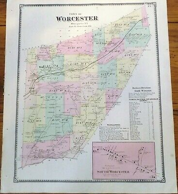 1868 NY Worcester Town Village South Worce Otsego County Map from Atlas by Beers