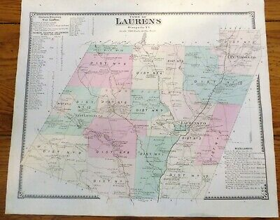 1868 NY Laurens Town Otsego County Beers Atlas Map