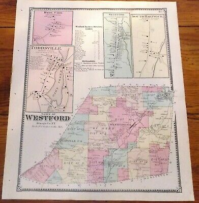 1868 NY Town Westford Village Westford Toddsville + Otsego Co Beers Atlas Map