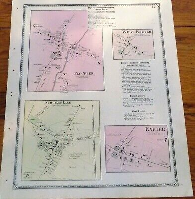 1868 NY Village Fly Creek Schuylerville Lake Exeter Otsego Co Beers Atlas Map