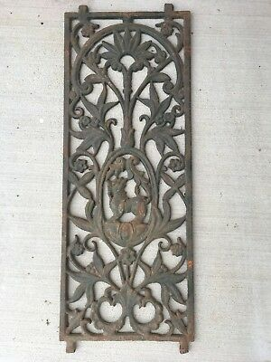 Antique Victorian cast iron window grill Floral motif with Guardian Lion center