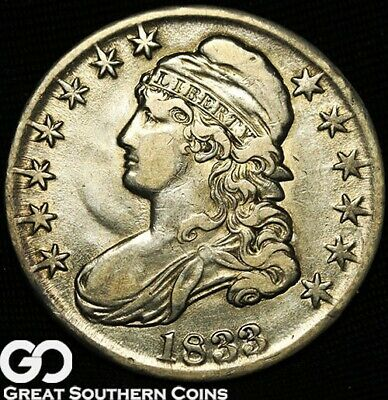 1833 Capped Bust Half Dollar, Very Nice Early Silver Half