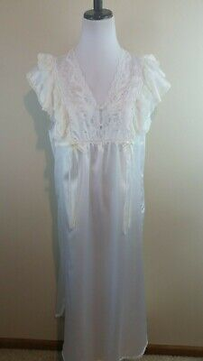 BARBIZON VINTAGE NIGHTGOWN White Satin Ivory Lace Embroidery Flutter Slv  Long M 1880f2f74