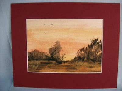 Original Watercolour Painting in mount 'Warm Sunset' unframed picture Phil Lynes